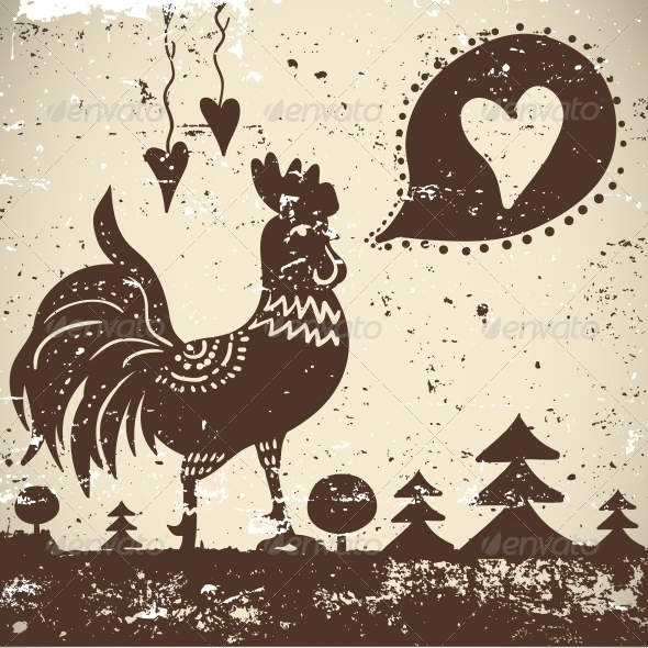 Wallpaper with a rooster