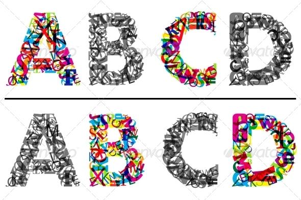 GraphicRiver Alphabet letters A B C and D 5330403