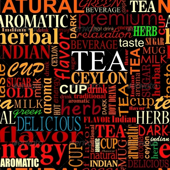 GraphicRiver Seamless Background with Tea Tags 5330486