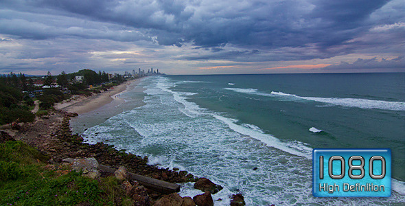 Wave Sets on Australian Beach Sunset With Clouds