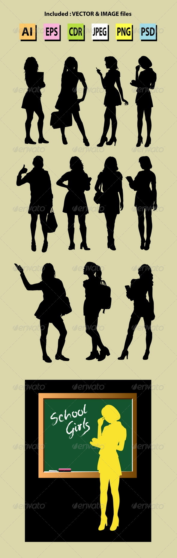 Schoolgirl & Business Woman Silhouettes - People Characters