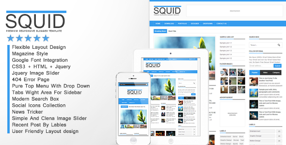 Squid - Clean Responsive Blogger Template - Blogger Blogging