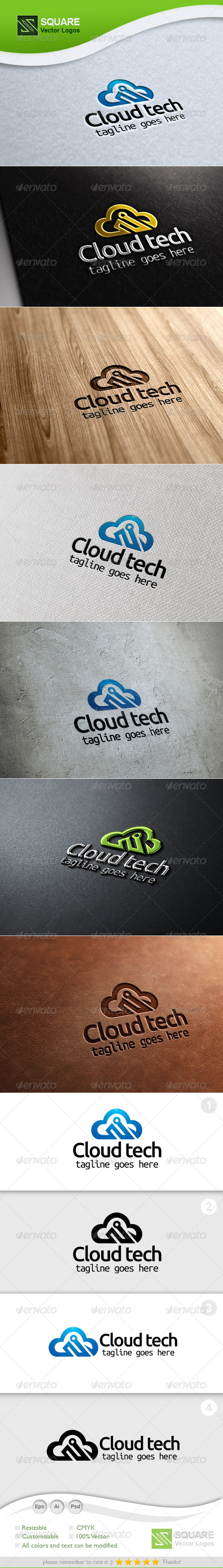 Cloud Technology Vector Logo Template