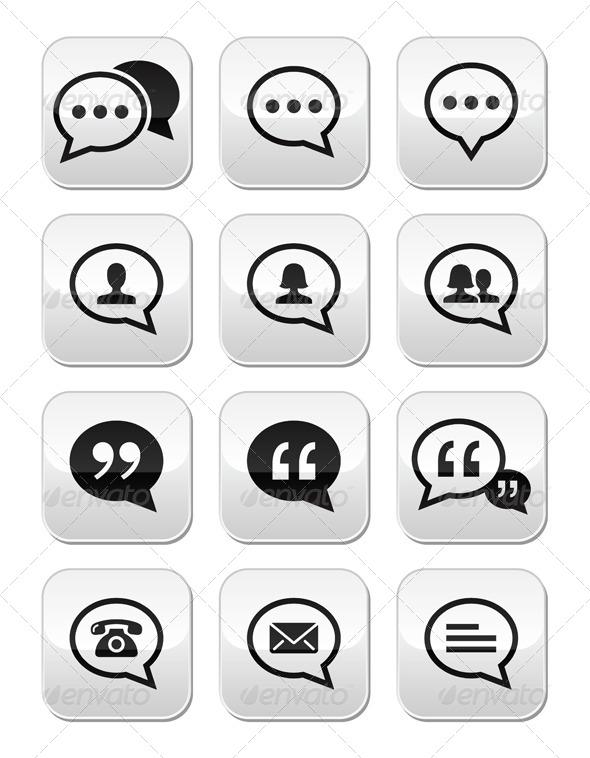 GraphicRiver Speech Bubble Blog Contact Vector Buttons Set 5332374