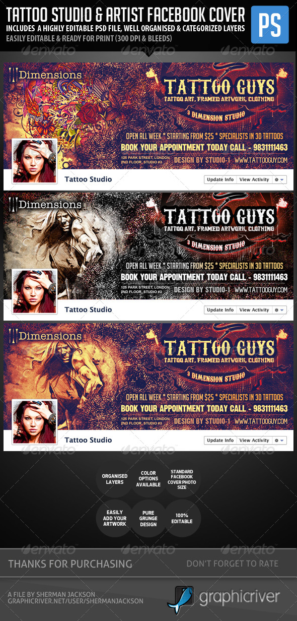 GraphicRiver Tattoo Studio & Tattoo Artist Facebook Cover Photo 5332563