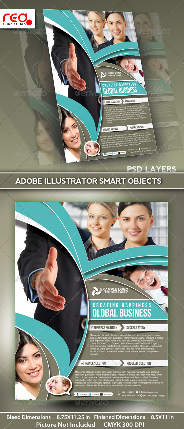 Global Business Flyer Poster Magazine Template 02
