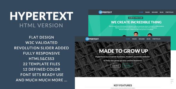 Hypertext - Flat Portfolio HTML Template - Portfolio Creative