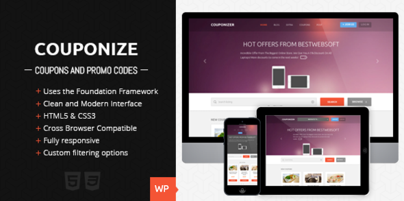 ThemeForest Couponize Responsive Coupons and Promo Theme 5306580