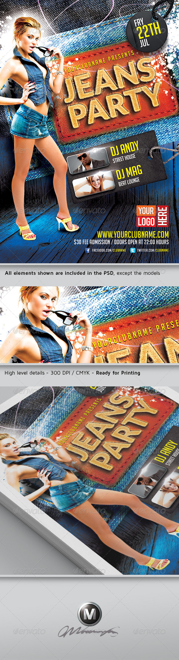 Jeans Party Flyer Template - Events Flyers