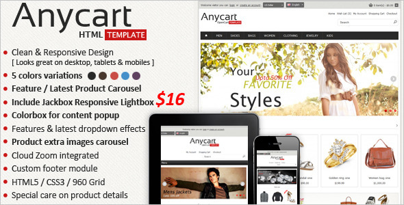 ThemeForest Anycart Responsive Retail Template 5307223
