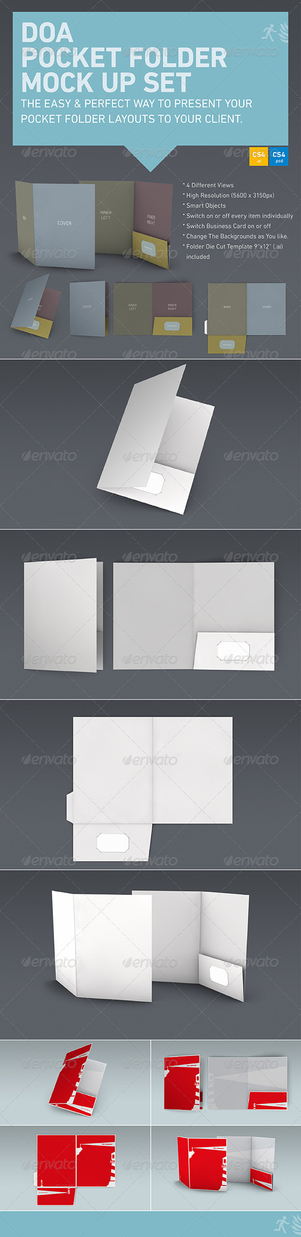 DOA Pocket Folder Mock Up Set - Stationery Print