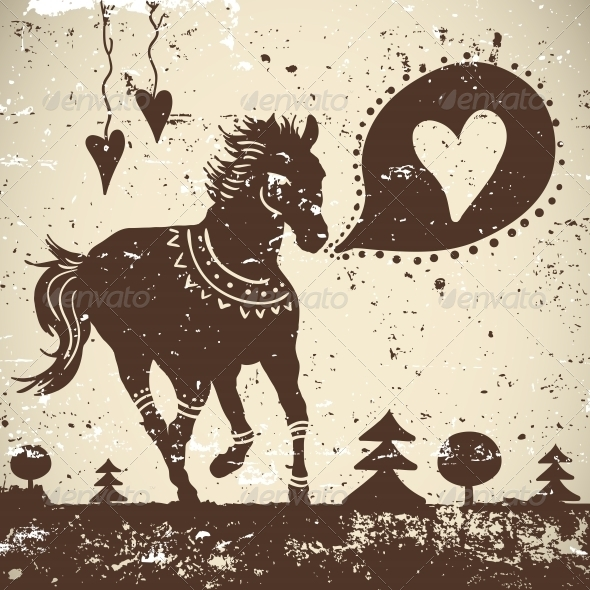 GraphicRiver Grungy Background with Wild Horse 5333884