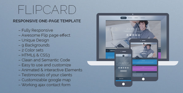 ThemeForest FlipCard Responsive One-page Template 5334050