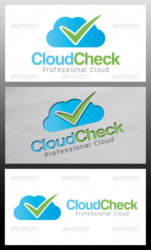 Cloud Tick Check Mark Logo Template