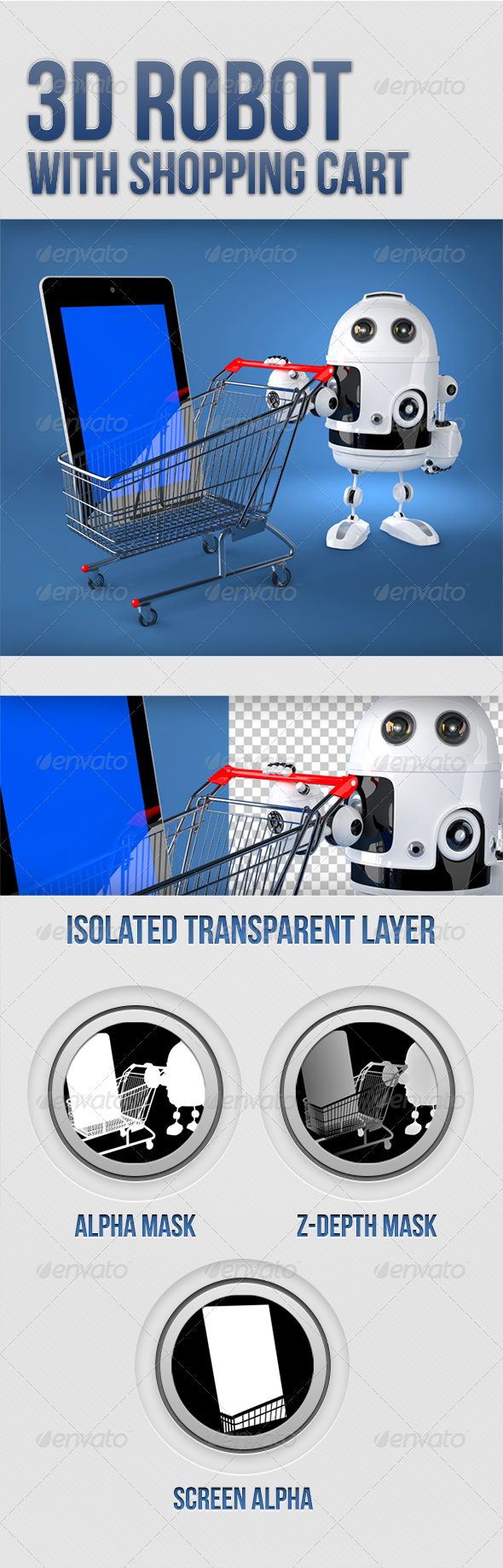 GraphicRiver 3D Robot with shopping cart 5334422