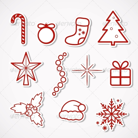 GraphicRiver Christmas Stickers 5335079