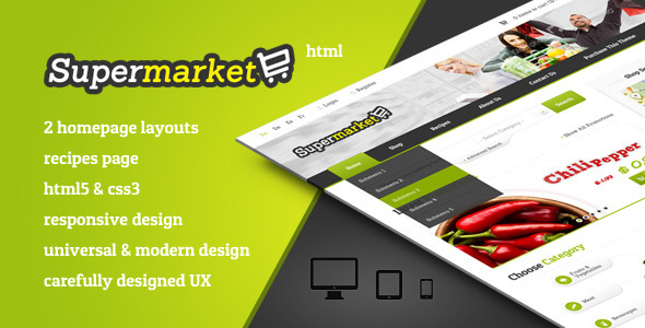 ThemeForest SUPERMARKET eShop HTML Template incl Recipes 5292535