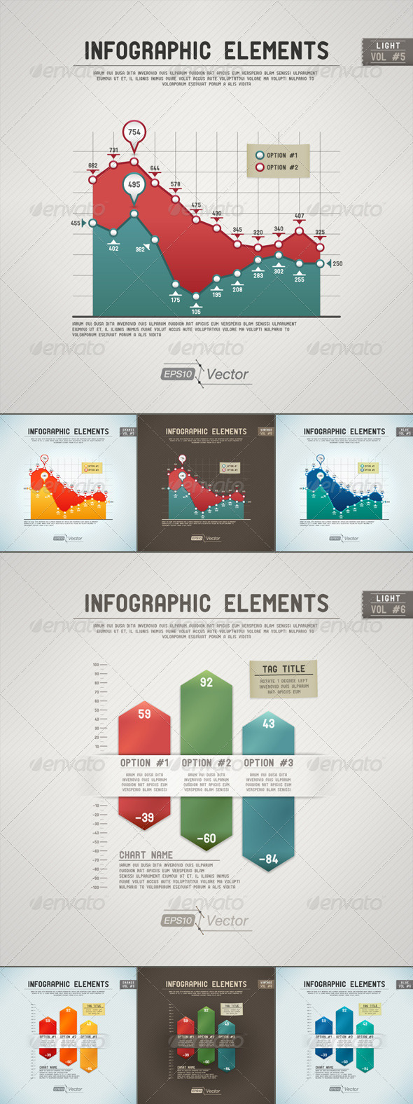 GraphicRiver Infographic Elements Area and Column Charts 5335500