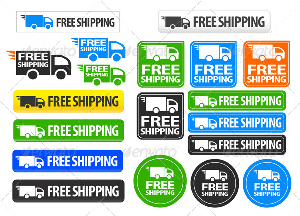 GraphicRiver Free Shipping Icons and Buttons Pack 5315773