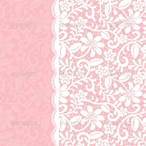 GraphicRiver Wedding Invitation or Greeting Card with Lace 5337016