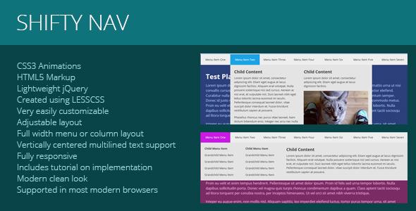 CodeCanyon Shifty Nav a Fully Responsive JS CSS3 Mega Menu 5319528