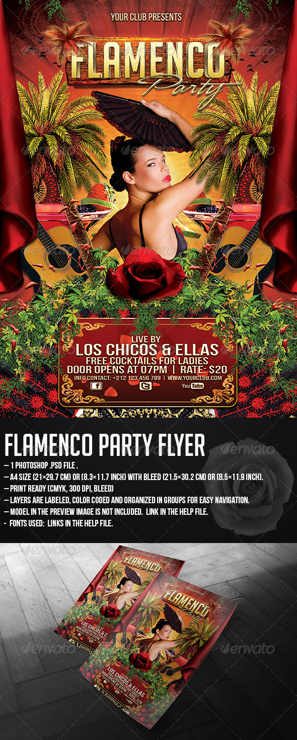 GraphicRiver Flamenco Party Flyer 5247982