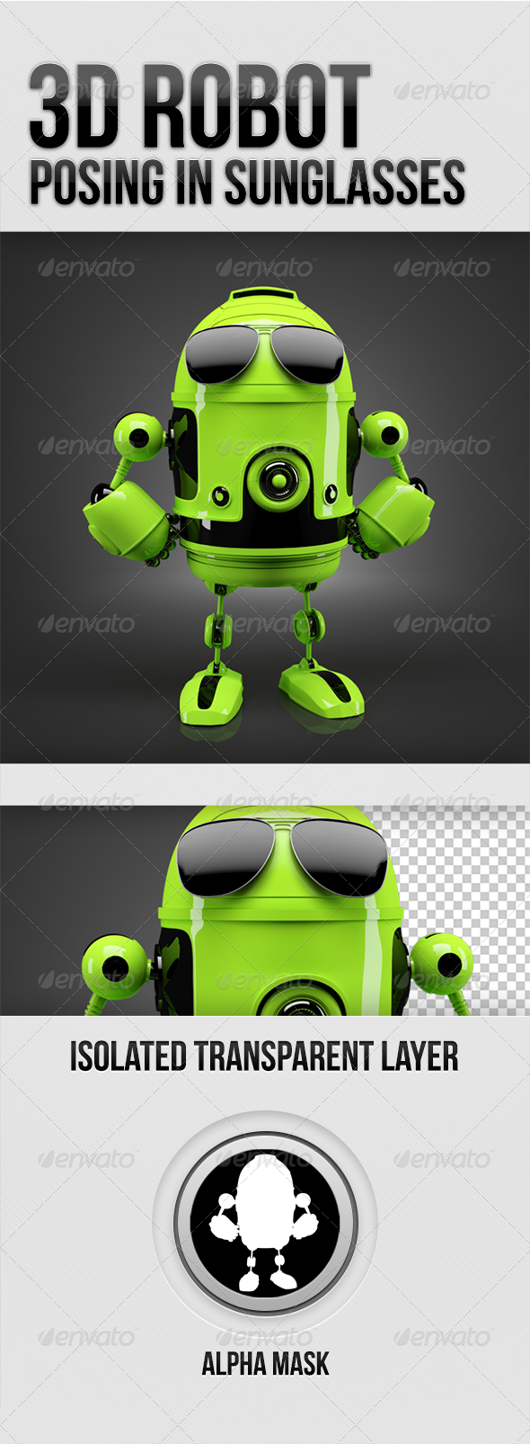 GraphicRiver Green Robot posing in stylish sunglasses 5337573