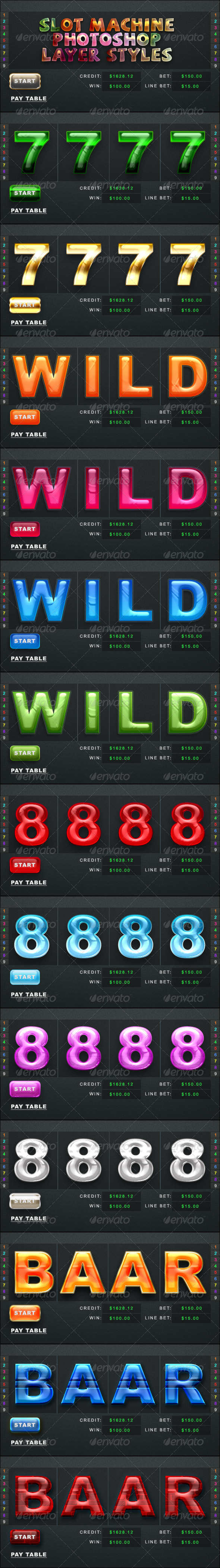 GraphicRiver Slot Machine Photoshop Styles 5337725