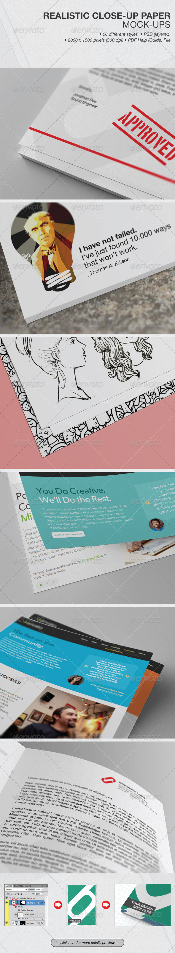 Realistic Close-up Paper Mock-ups - Product Mock-Ups Graphics