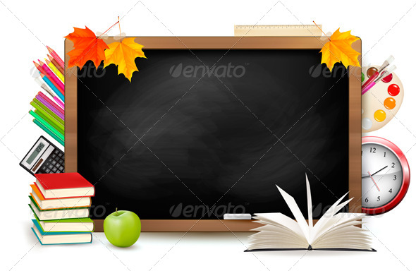 GraphicRiver Back to School Blackboard with School Supplies 5337976