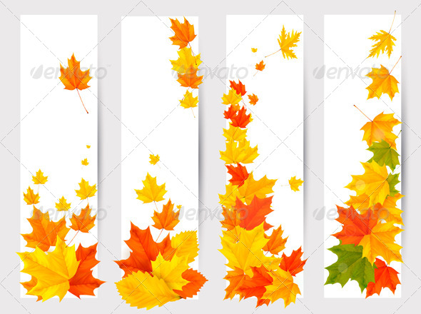 GraphicRiver Set of Autumn Banners with Colorful Leaves 5337994
