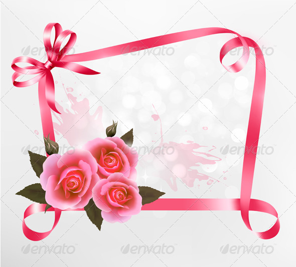 GraphicRiver Holiday Background with Pink Roses and Ribbons 5338002