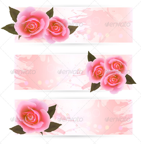 GraphicRiver Three Holiday Banners with Pink Roses 5338007