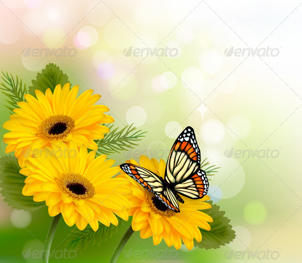 GraphicRiver Nature Background with Yellow Flowers 5338009