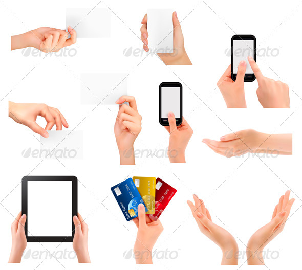 GraphicRiver Set of Hands Holding Different Business Objects 5338011