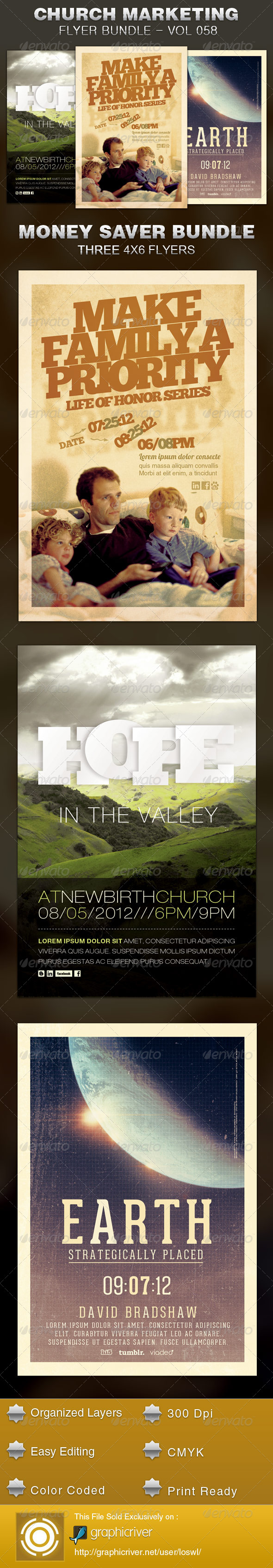 Church Marketing Flyer Template Bundle Vol 058