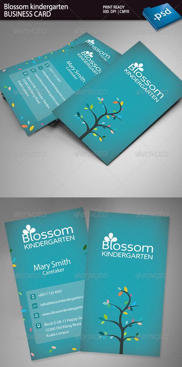 GraphicRiver Blossom Kindergarten Business Card 5274011
