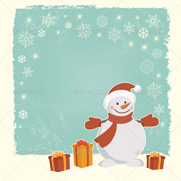 GraphicRiver Retro Christmas Card with Snowman 5338777