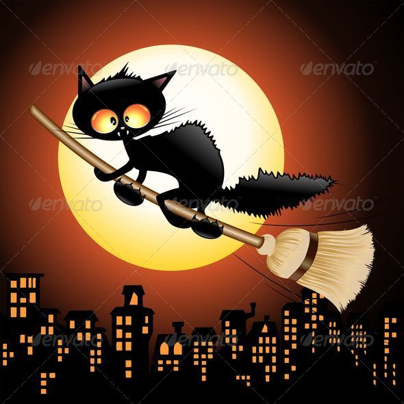 GraphicRiver Halloween Black Cat Cartoon Flying on Witch Broom 5339282