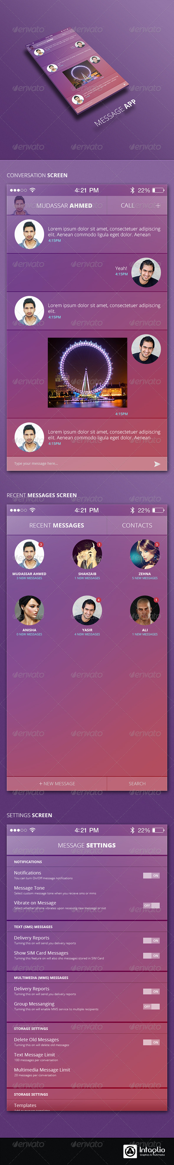 iOS Message App UI - User Interfaces Web Elements