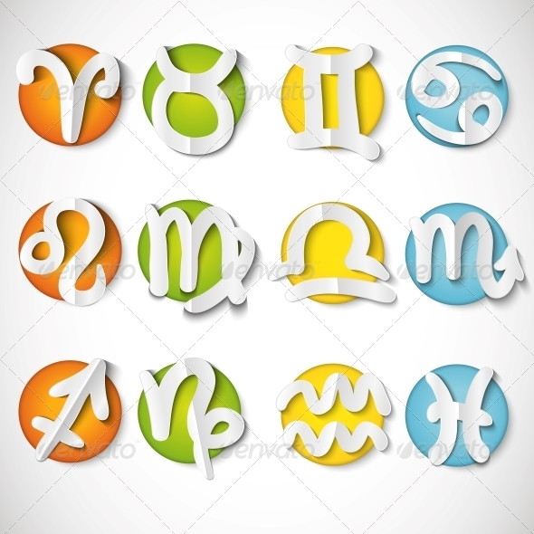 GraphicRiver Paper Cut Zodiac Set Icon 5339858