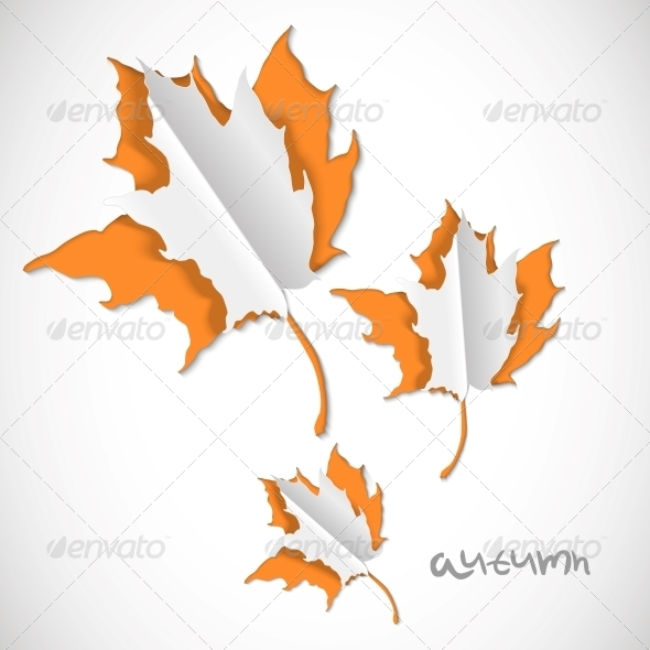 GraphicRiver Autumn Paper Cut Background with Leaves 5339913