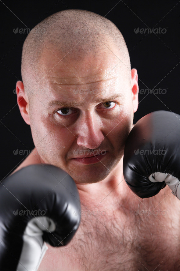 Portrait of a male boxer - Stock Photo - Images