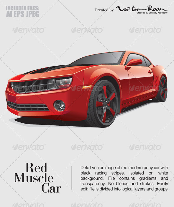 GraphicRiver Red Muscle Car 5340656