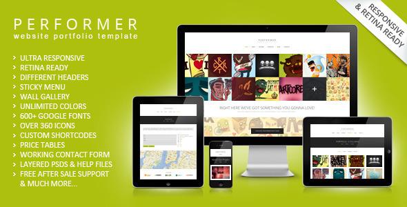 ThemeForest Performer Minimalistic Portfolio Web Template 5340700