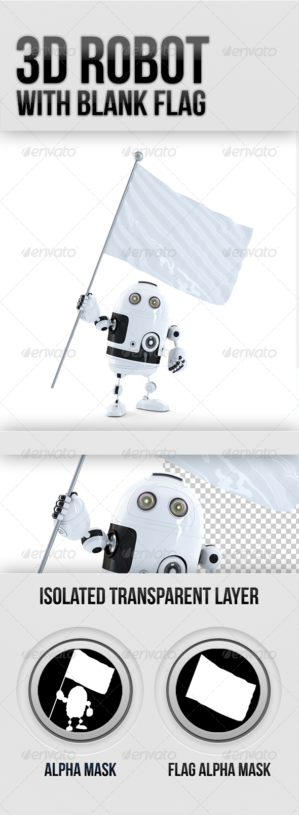 GraphicRiver Robot with waving blank mockup flag 5340940
