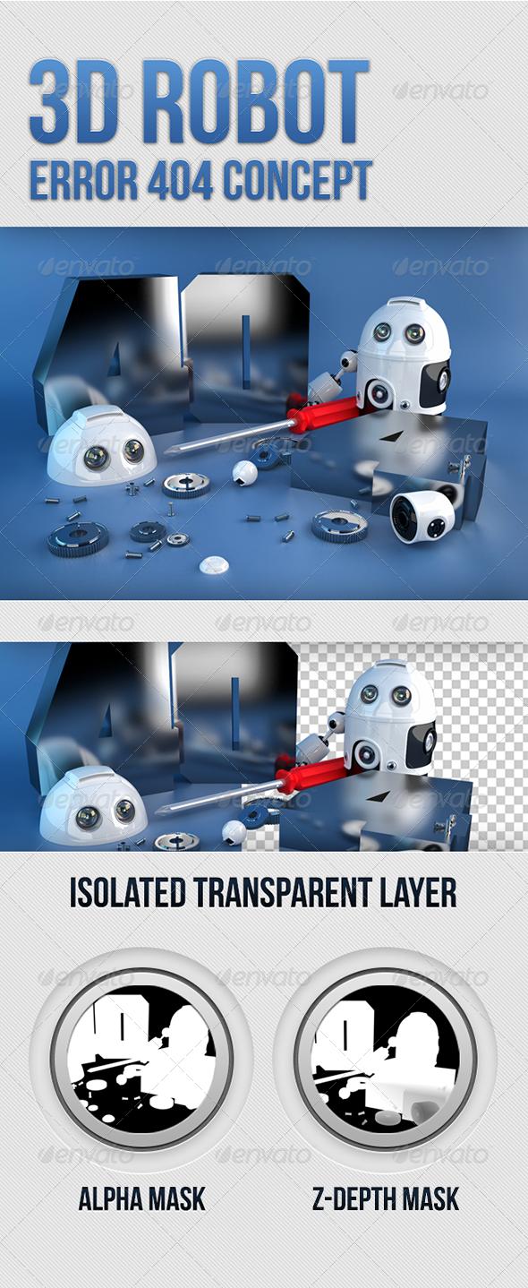 GraphicRiver 3D Robot Error 404 concept 5298406