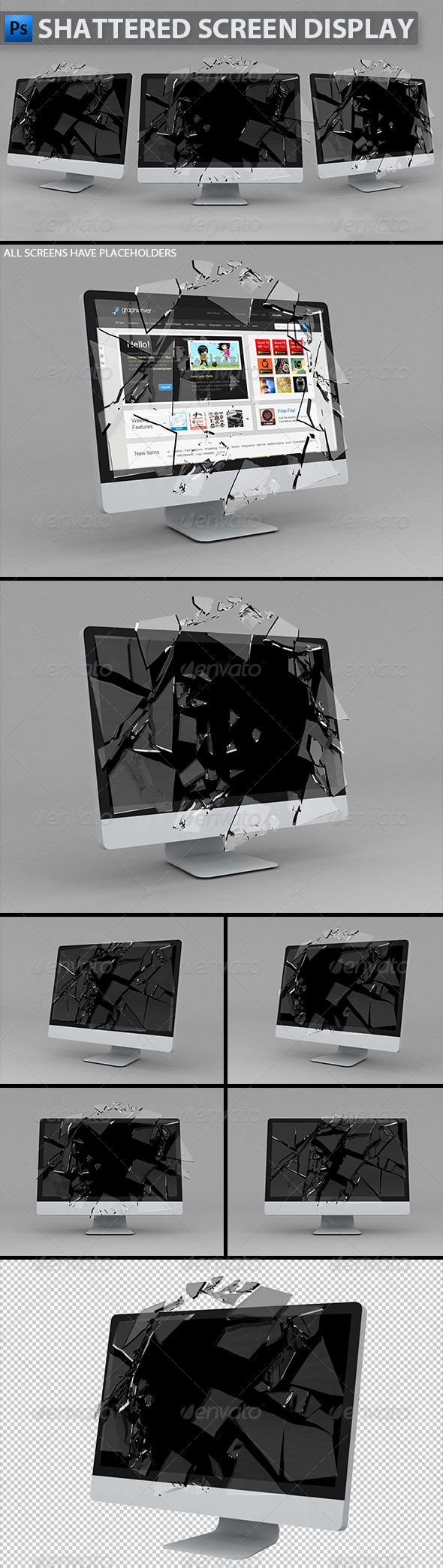 Shattered Screen Display - Monitors Displays
