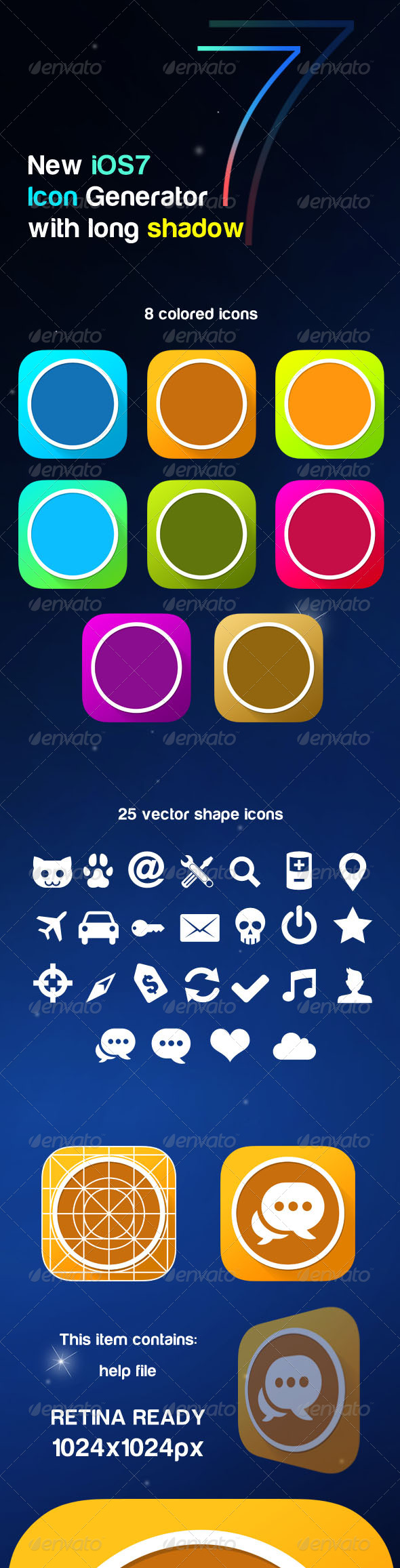 GraphicRiver New iOS7 Icon Generator with Long Shadow 5341059