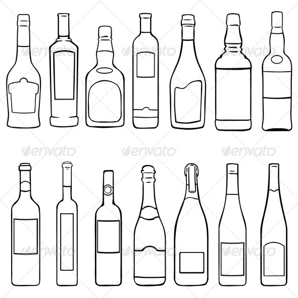 GraphicRiver Bottles Icons Set 5341063